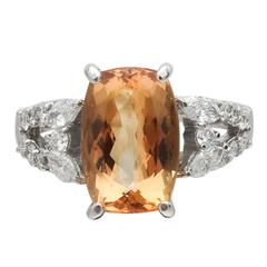 Imperial Topaz Diamond Platinum Ring