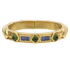 Green Tourmaline Iolite Gold Bangle Bracelet