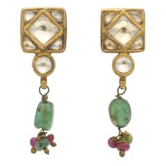 Indian Kundan Gem-Set Silver Gold Pendant Earrings