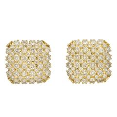 Diamond Gold Square Earclips