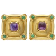 Amethyst Emerald Gold Earclips