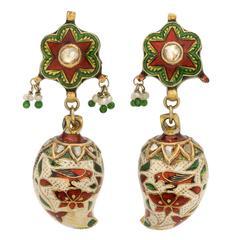 Indian Enamel Diamond Gold Pendant Earrings