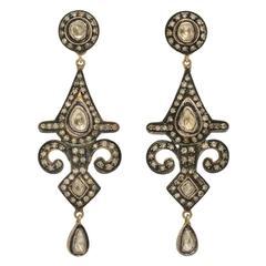 Indian Motif Diamond Silver Gold Pendant Earrings