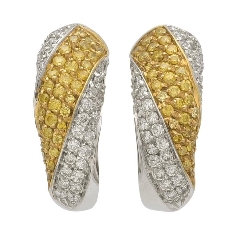 Yellow and White Diamonds Two Color Gold Half Hoop Earrings For Sale