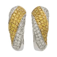 Yellow and White Diamonds Two Color Gold Half Hoop Earrings
