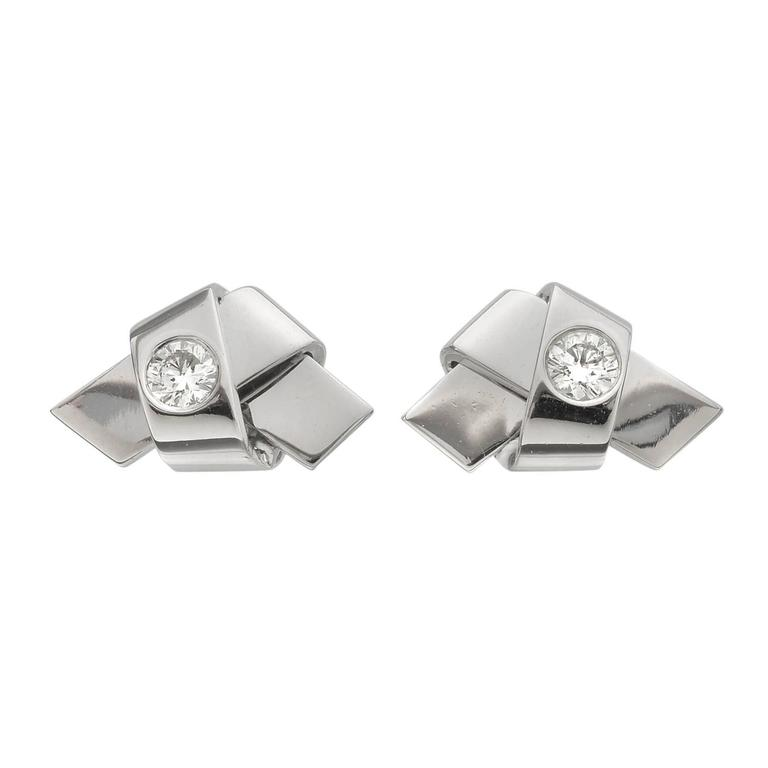 Cartier Diamond and White Gold Ribbon Knot Stud Earrings For Sale