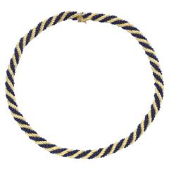 Yellow Gold and Lapis Lazuli Bead Rope-Twist Necklace