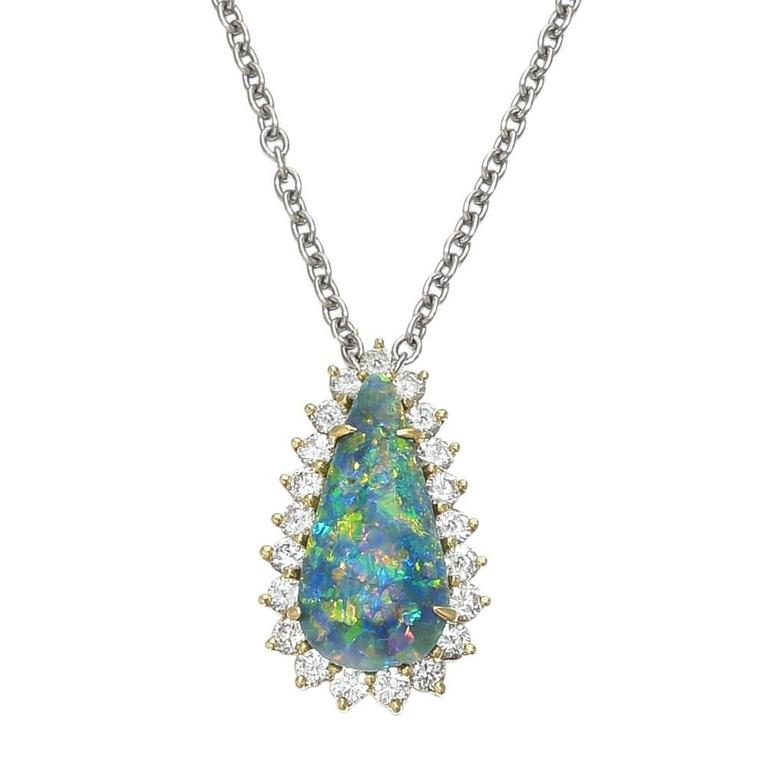 Opal and Diamond Cluster Pendant Necklace 1