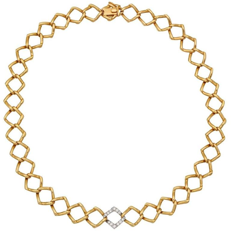 Tiffany & Co. Paloma Picasso Diamond Gold Link Collar Necklace 1