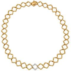 Tiffany & Co. Paloma Picasso Diamond Gold Link Collar Necklace