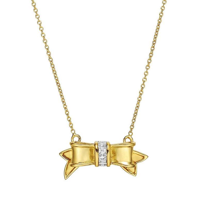 Tiffany & Co. Diamond Gold Bow Pendant Necklace
