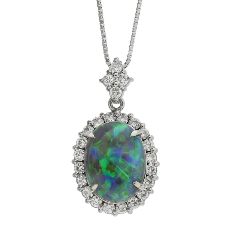 3.99 carat Opal Diamond platinum Cluster Pendant Necklace
