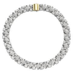 Gold Basketweave Collar Necklace