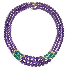 Three-Strand Amethyst and Green Glass Bead Necklace