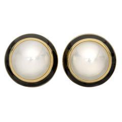 1990s Tiffany & Co. Mabe Pearl Enamel gold Earclips