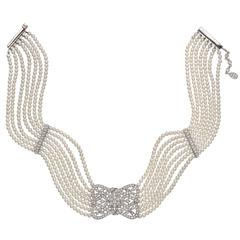 7 Strand Pearl Diamond Gold Panel Choker Necklace