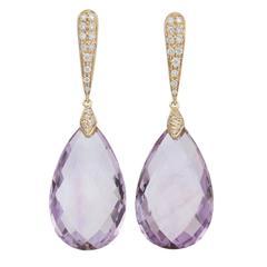 Italian Amethyst and Diamond Drop Earrings