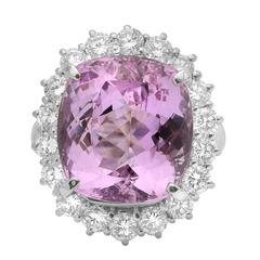 11.89 Carat Pink Topaz  Diamond Cluster Ring