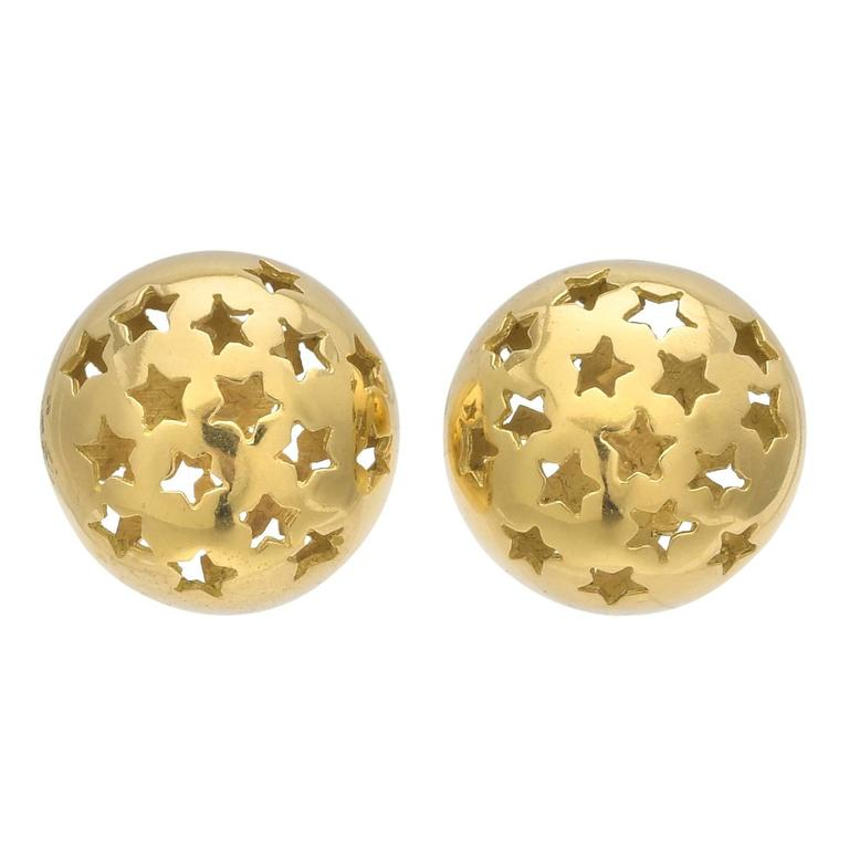 Yellow Gold Star Domed Earrings 1