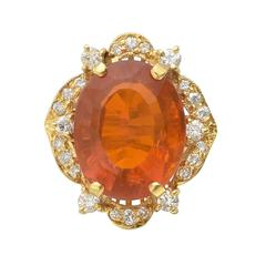 Fire Opal and Diamond Cocktail Ring
