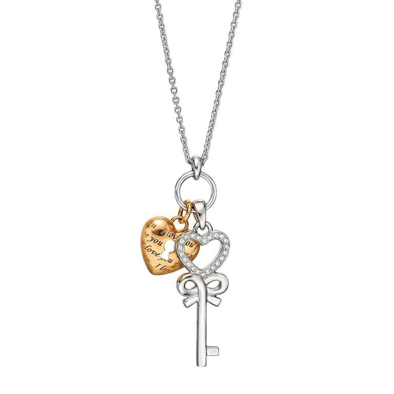 white cz key is image stones aede gold pendant inch loading itm necklace lock anchor layered