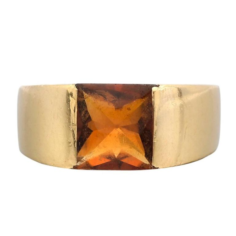 Cartier Gold and Citrine Tank Ring