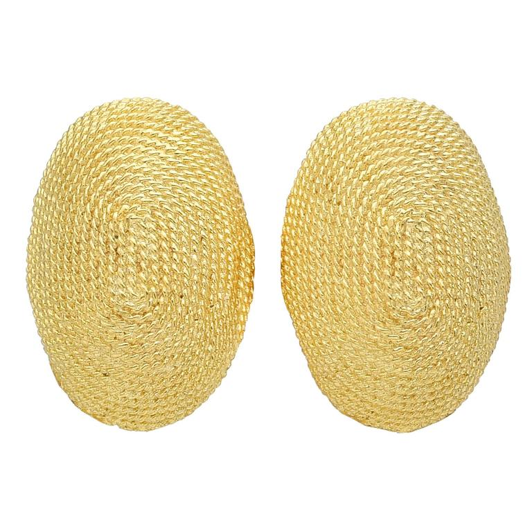 Yellow Gold Oval Earclips For Sale
