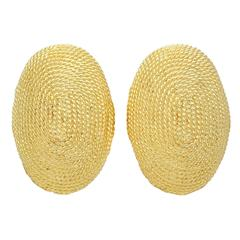 Yellow Gold Oval Earclips