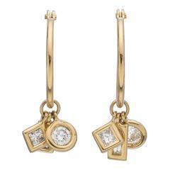 Multi-Shaped Diamond Charm Dangle Hoop Earrings