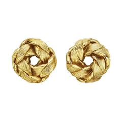 Tiffany & Co. Yellow Gold Leaf Knot Earrings