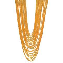 25-Strand Orange Sapphire Bead Necklace
