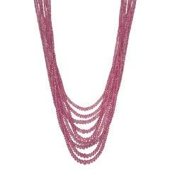 Nine-Strand Pink Sapphire Bead Necklace