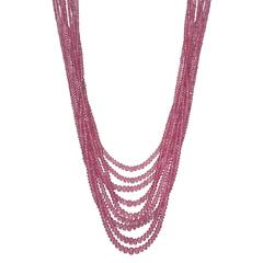 Nine-Strand Pink Sapphire Bead Necklace