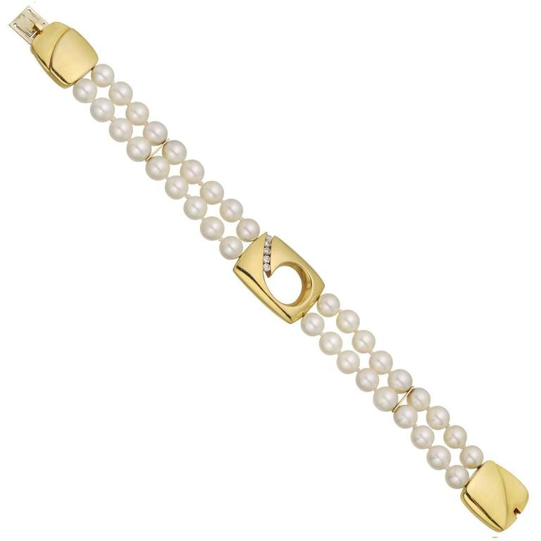 Two-Strand Pearl Bracelet with Diamond Gold Accents