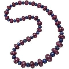 Ruby Sapphire Bead Necklace