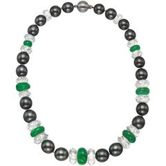 Tahitian Pearl Emerald Rock Crystal Bead Necklace