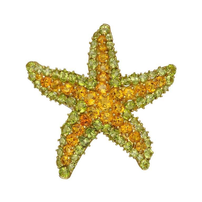 Citrine Peridot Starfish Brooch