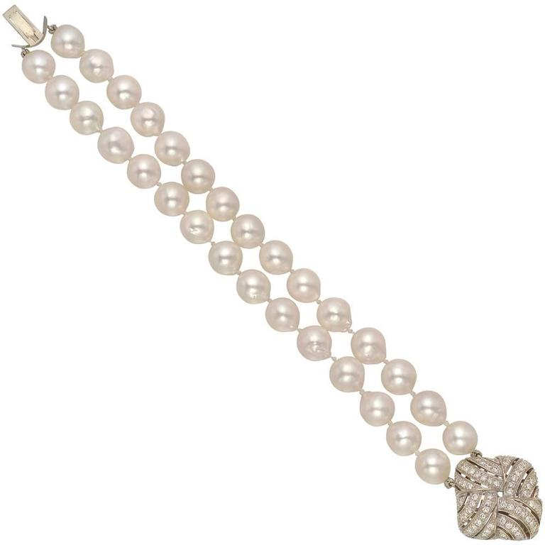 Two-Strand Baroque Pearl Bracelet with Diamond-Set Clasp
