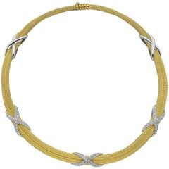 "Yellow Gold Diamond ""X"" Motif Collar Necklace"