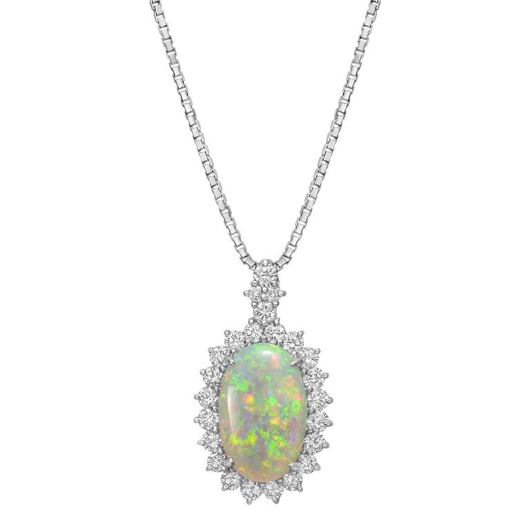 Oval Opal Diamond Cluster Pendant Necklace