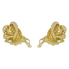 Yellow Gold Diamond Rose Bud Earclips