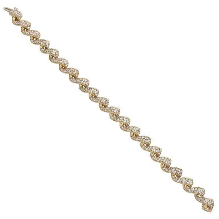 Diamond Yellow Gold Swirl Link Bracelet