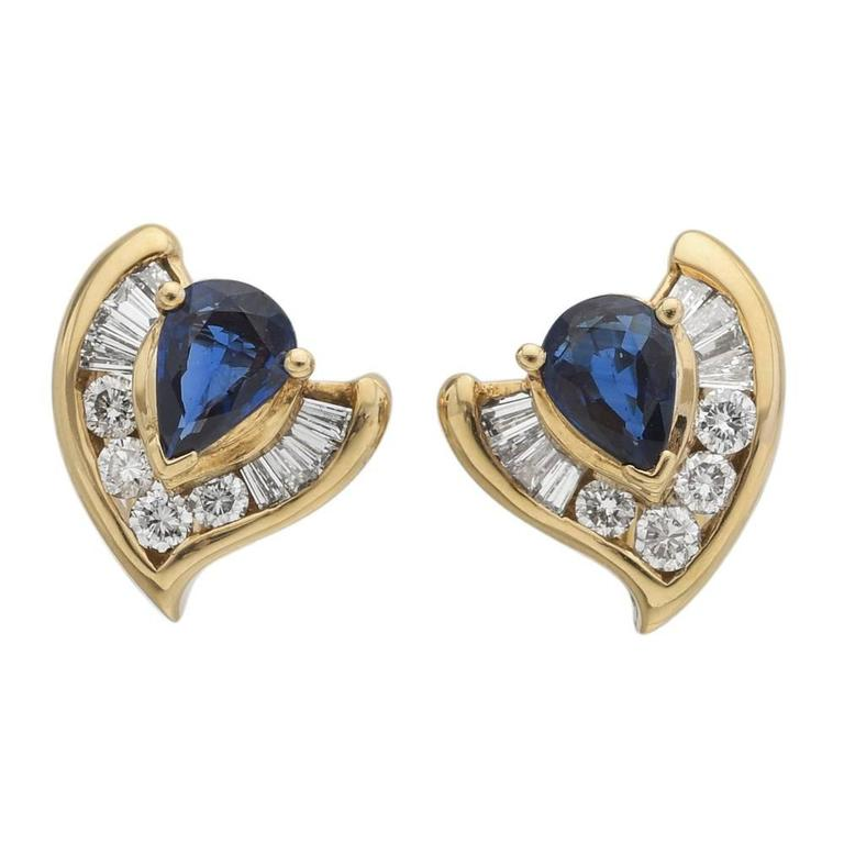 Sapphire Diamond Gold Earrings For Sale