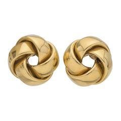 Large Yellow Gold Pinwheel Knot Earclips