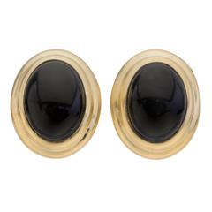 Black Onyx Gold Earclips