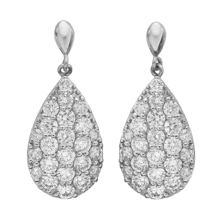 Pave Diamond Platinum Pear Shaped Drop Earrings