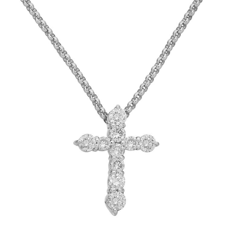 1ea01c012 Diamond Platinum Cross Pendant Necklace at 1stdibs