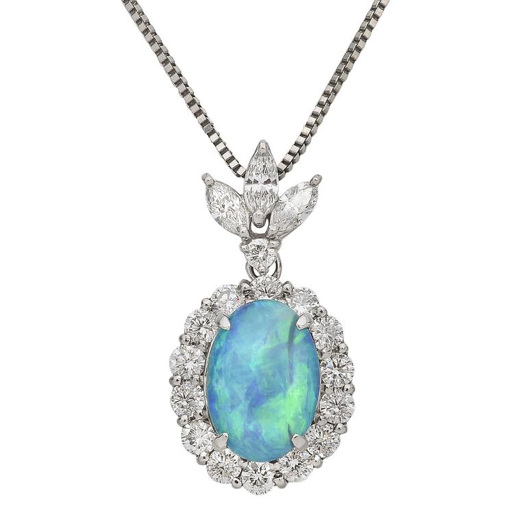 Opal Diamond Platinum Cluster Pendant Necklace