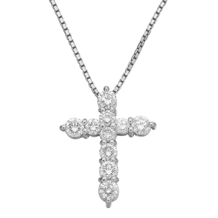 Diamond Platinum Cross Pendant Necklace   For Sale
