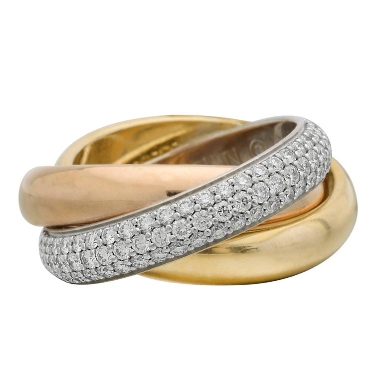 Cartier Tricolor Diamond Gold Trinity Ring
